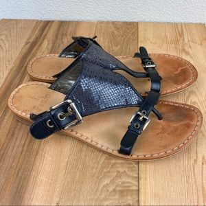 Linea Paolo 9 black snakeskin thong sandals